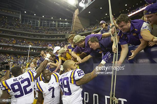 Texas Kickoff LSU Leonard Fournette and DeSean Smith victorious with fans in stands after winning game vs Wisconsin at NRG Stadium Houston TX CREDIT...