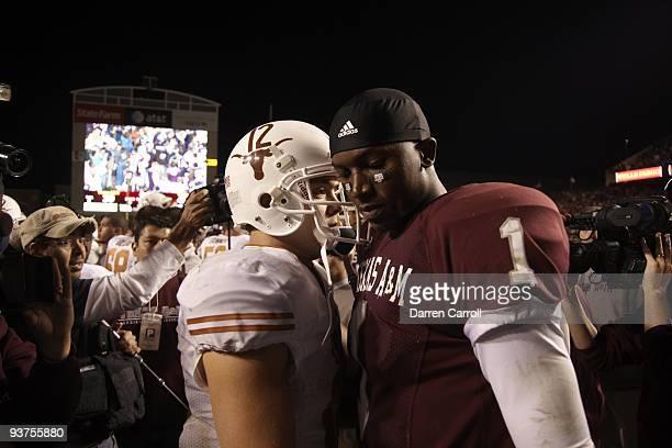 Texas QB Colt McCoy with Texas AM QB Jerrod Johnson after game College Station TX CREDIT Darren Carroll