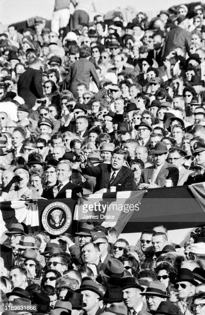 United States President John F Kennedy in tands during Army vs Navy game at Municipal Stadium Philadelphia PA CREDIT James Drake