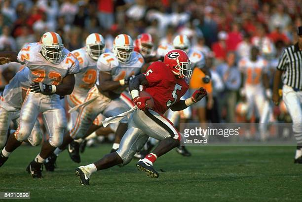 University of Georgia Garrison Hearst in action, rushing for touchdown vs University of Tennessee. Athens, GA 9/12/1992 CREDIT: Jim Gund