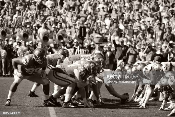 USC Jake Olson at line of scrimmage during game vs UNLV at Los Angeles Memorial Coliseum Los Angeles CA CREDIT John W McDonough