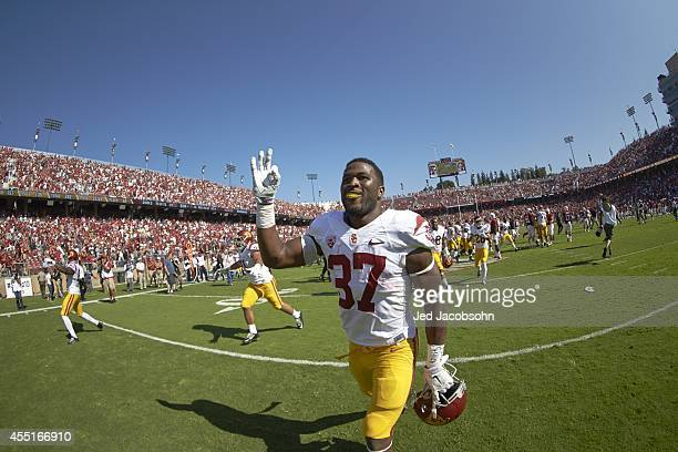 USC Javorius Allen victorious after game vs Stanford at Stanford Stadium Palo Alto CA CREDIT Jed Jacobsohn