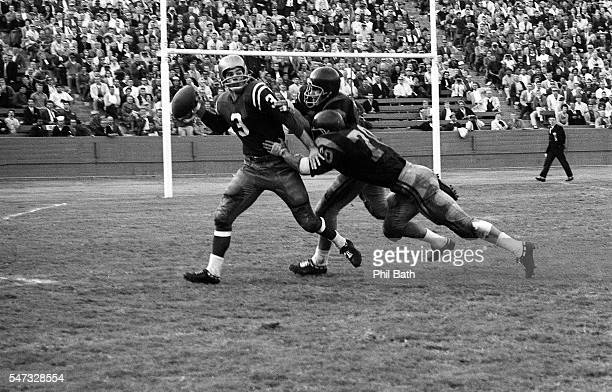 USC Pete Lubisich and Marv Marinovich in action making tackle vs Notre Dame QB Daryle Lamonica at Los Angeles Memorial Colesium Los Angeles CA CREDIT...