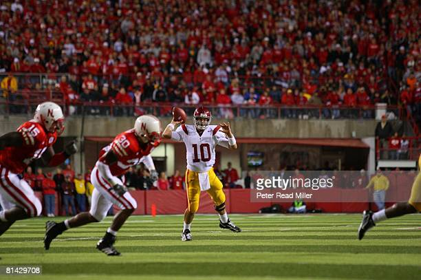 College Football USC QB John David Booty in action making pass vs Nebraska Lincoln NE 9/15/2007