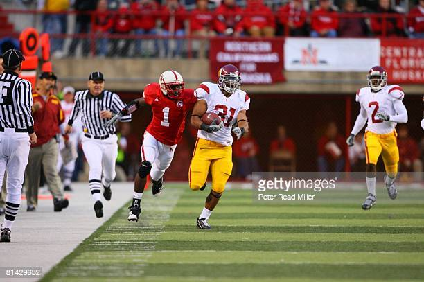 College Football USC Stanley Havili in action rushing vs Nebraska Chris Brooks Lincoln NE 9/15/2007
