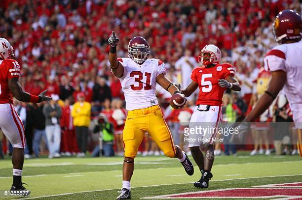 College Football USC Stanley Havili victorious after scoring touchdown vs Nebraska Lincoln NE 9/15/2007