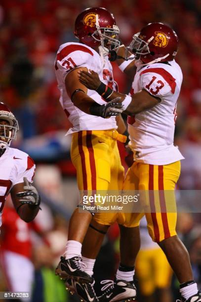 College Football USC Stanley Havili victorious with Stafon Johnson after scoring touchdown vs Nebraska Lincoln NE 9/15/2007