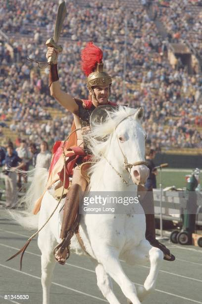 College Football USC Trojan mascot aboard horse animal during game vs Notre Dame Los Angeles CA 12/2/1972