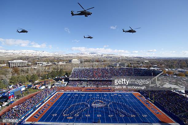View of Apache and Black Hawk helicopters of Idaho National Guard during flyover before Boise State vs Idaho game at Bronco Stadium Boise ID CREDIT...