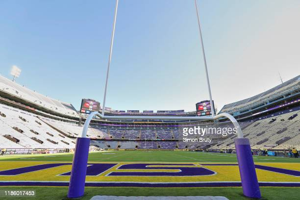 View of goalpost before LSU vs Arkansas game at Tiger Stadium. Equipment. Baton Rouge, LA CREDIT: Simon Bruty