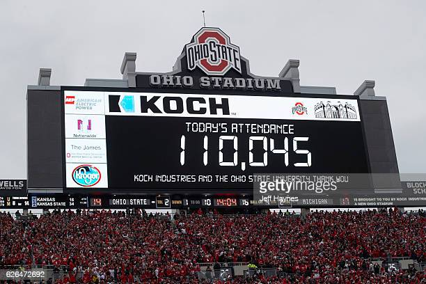 View of jumbotron announcing record setting attendance of 110045 during Ohio State vs Michigan game at Ohio Stadium Columbus OH CREDIT Jeff Haynes