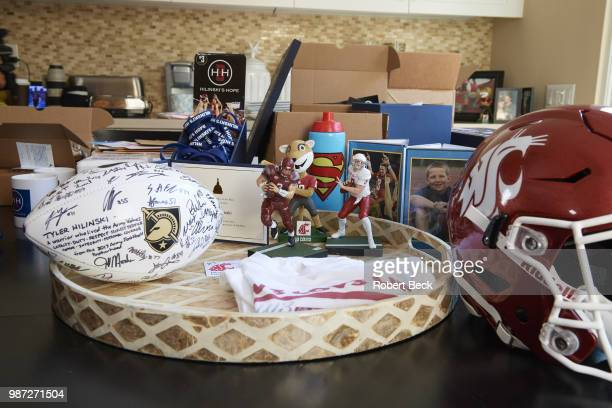 View of memorabilia in family home of former Washington State QB Tyler Hilinski during photo shoot Doctors discovered signs of CTE in Tyler...