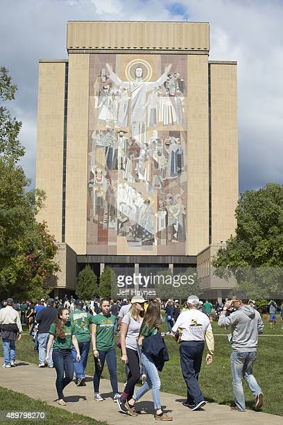 View of mural The Word of Life depicting Christ of Teacher on wall of Hesburgh Library Informally known as Touchdown Jesus before Notre Dame vs...