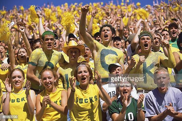 View of Oregon fans during game vs Michigan Eugene OR 9/20/2003 CREDIT Rich Frishman