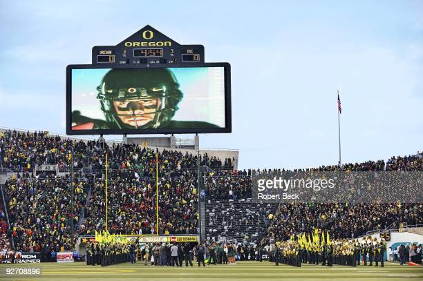 View of Oregon QB Jeremiah Masoli on video screen during player introductions before game vs USC Overall view of Autzen Stadium Eugene OR CREDIT...