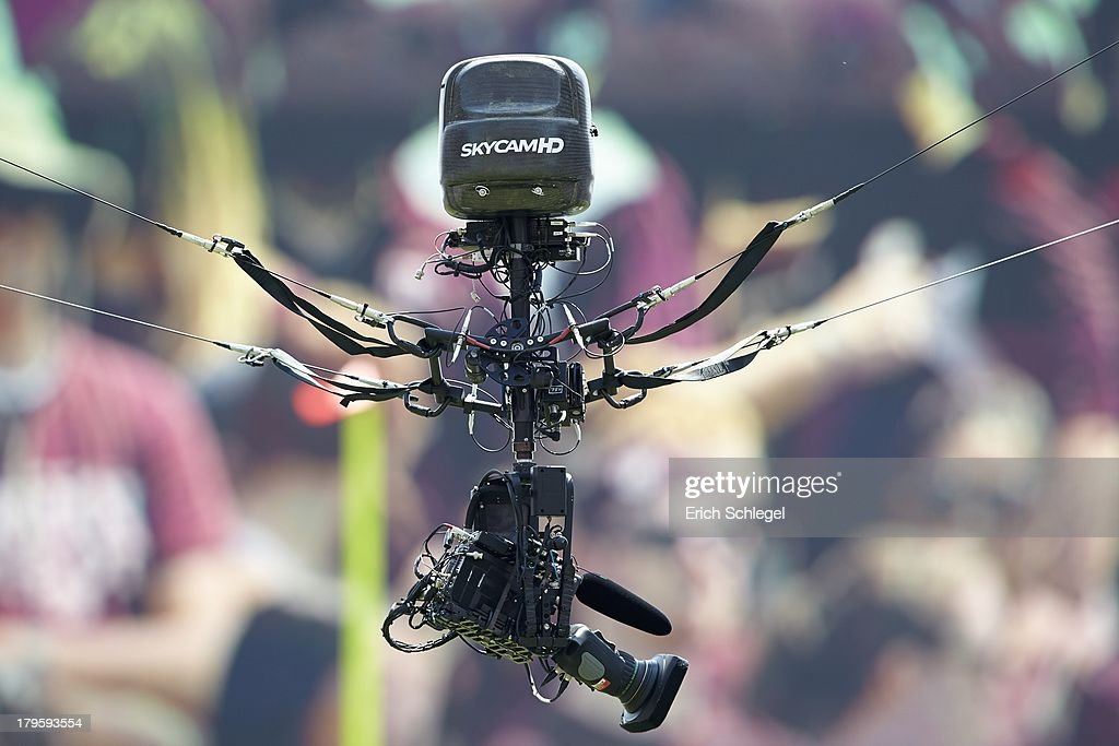 View of Skycam aerial television camera equipment during Texas A&M vs Rice game at Kyle Field. Erich Schlegel F64 )