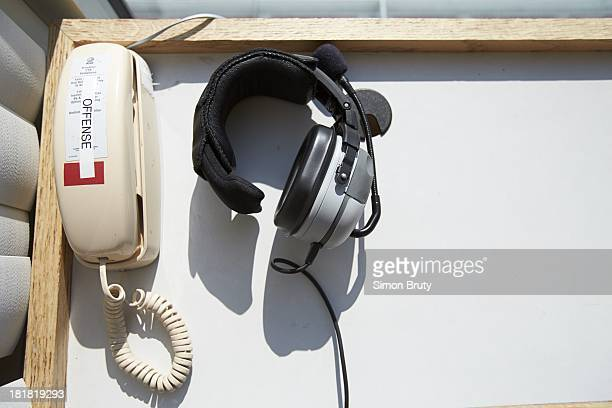 View of telephone and headphones in Ohio State coaches' box before game vs Buffalo at Ohio Stadium Equipment Columbus OH CREDIT Simon Bruty