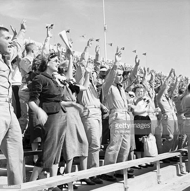 View of Texas AM Corps of Cadets fans victorious in stands during game vs Texas Christian at Amon G Carter Stadium Fort Worth TX CREDIT Hy Peskin