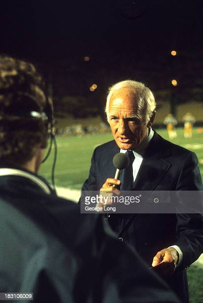 View of Tom Harmon father of UCLA QB Mark Harmon during interview on the sidelines before game vs Nebraska at Rose Bowl Stadium Pasadena CA CREDIT...