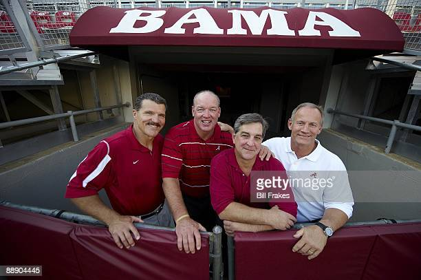 Where Are They Now Portrait of Alabama linemen who made Goal Line Stand during 1979 Sugar Bowl Barry Krauss Rich Wingo Murray Legg and Marty Lyons at...