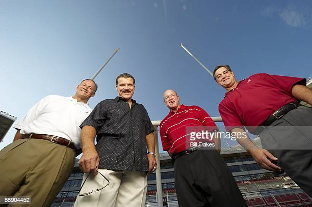 Where Are They Now Portrait of Alabama linemen who made Goal Line Stand during 1979 Sugar Bowl Marty Lyons Barry Krauss Rich Wingo and Murray Legg at...