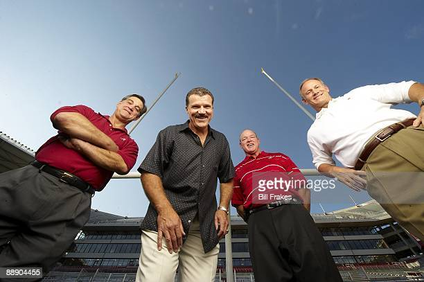 Where Are They Now Portrait of Alabama linemen who made Goal Line Stand during 1979 Sugar Bowl Murray Legg Barry Krauss Rich Wingo and Marty Lyons at...