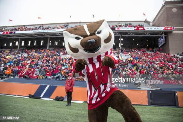 Wisconsin mascot Bucky Badger on field during game vs Illinois at Memorial Stadium Champaign IL CREDIT Jeff Haynes
