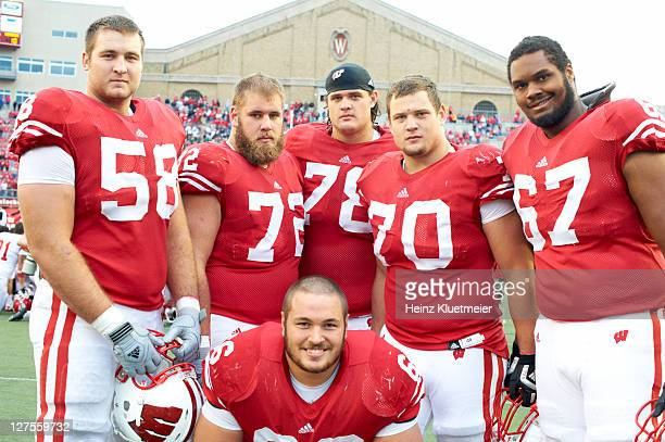 Wisconsin Ricky Wagner Travis Frederick Peter Konz Kevin Zeitler Rob Havenstein and Josh Oglesby on sidelines during game vs South Dakota at Camp...