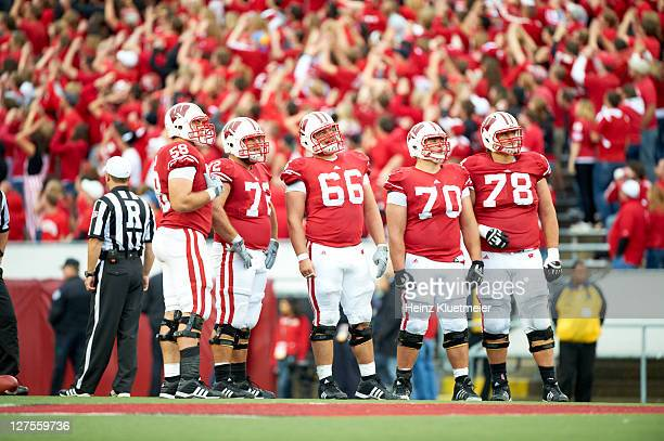 Wisconsin Ricky Wagner Travis Frederick Peter Konz Kevin Zeitler and Rob Havenstein on sidelines during game vs South Dakota at Camp Randall Stadium...