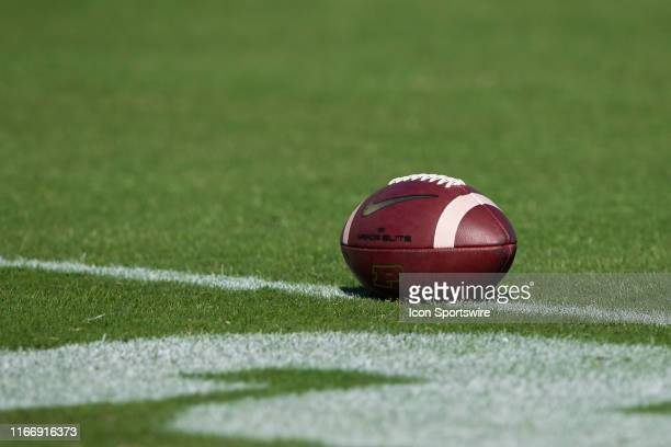 College football with the Purdue logo lays on the field before the college football game between the Purdue Boilermakers and Vanderbilt Commodores on...