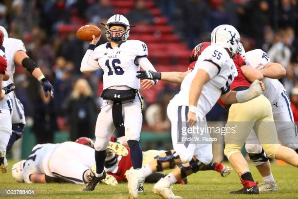 Yale QB Griffin O'Connor in action passing vs Harvard at Fenway Park Boston MA CREDIT Erick W Rasco
