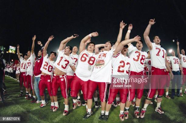 1999 Rose Bowl Wisconsin victorious after winning game vs UCLA at the Rose Bowl Players include LR Chad Kuhns Chris Ghidorzi Vitaly Pisetsky Tony...