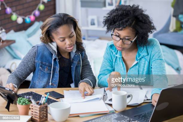 college friends study together - black girls stock photos and pictures