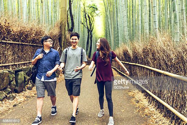 College friends taking a walk in bamboo forest, Kyoto, Japan