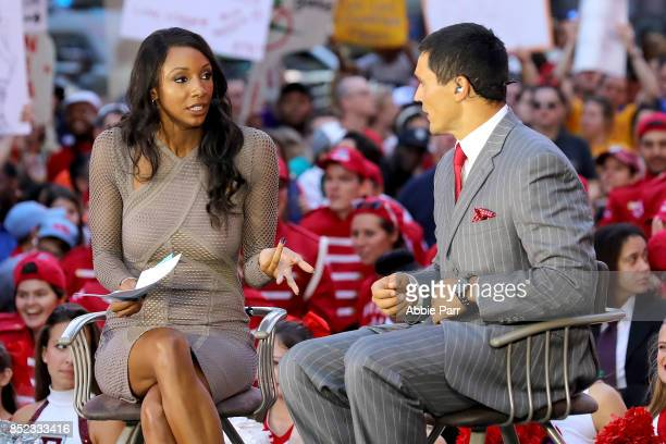 College Gameday Analysts Maria Taylor and David Pollack discuss college gameday at Times Square on September 23 2017 in New York City