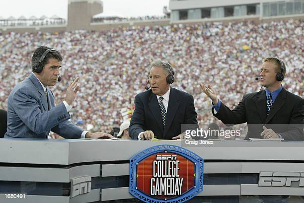 College GameDay announcers Chris Fowler Lee Corso and Kirk Herbstreit comment during the NCAA football game between Notre Dame and Florida State at...