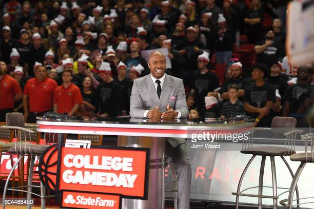 College Gameday host Jay Williams offers commentary prior to the game between the Texas Tech Red Raiders and the Kansas Jayhawks on February 24 2018...