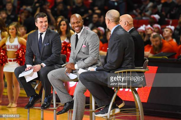 College Gameday hosts Rece Davis Jay Williams Seth Greenburg and Jay Bilas give commentary during the live broadcast prior to the game between the...