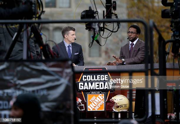 ESPN College GameDay hosts Rece Davis left and Desmond Howard are pictured on the set of the show on the Boston College campus in the Chestnut Hill...