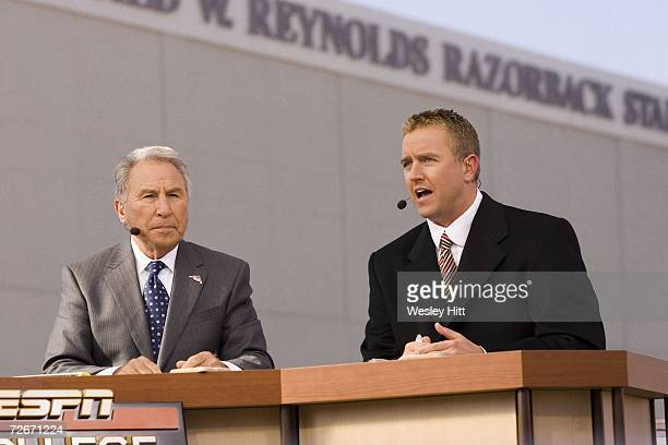 College GameDay Lee Corso and Kirk Herbstreit on the campus of the Arkansas Razorbacks before a game against the Tennessee Volunteers at Donald W...