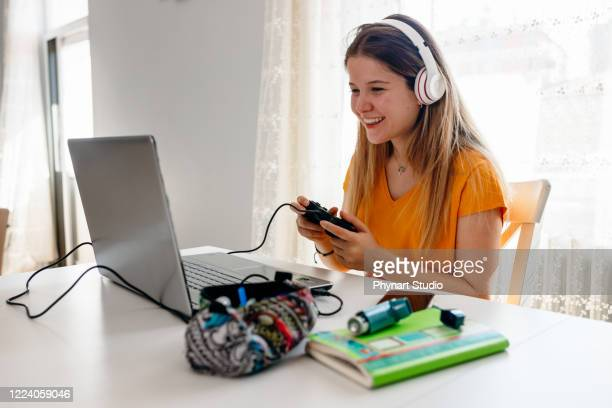 college girl takes a break - esports stock pictures, royalty-free photos & images