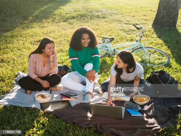 college girls studying together outdoors - mexican picnic stock pictures, royalty-free photos & images