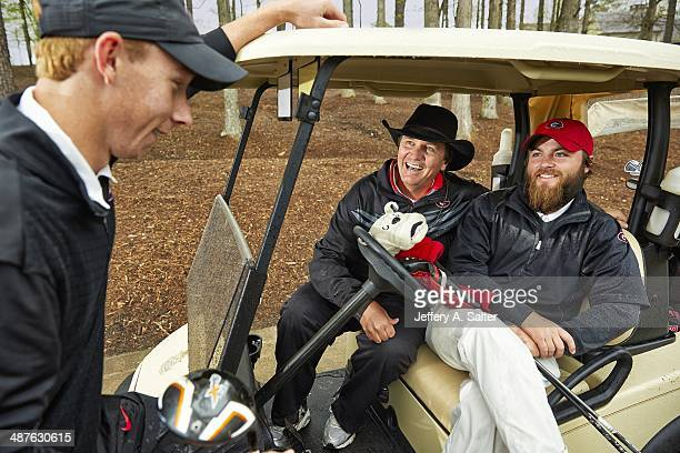 Closeup portrait of Georgia coach Chris Haack with players Joey Garber and Lee McCoy during photo shoot at University of Georgia GC Haack has won 7...