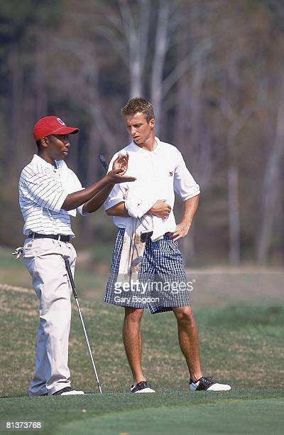 College Golf Ohio State Kevin Hall disabled deaf athlete with teammate Zach Dorn at Wild Wing Plantation GC Conway SC 3/26/2001