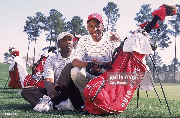 College Golf Portrait of Ohio State Kevin Hall disabled deaf athlete with dad Percy at Wild Wing Plantation GC Conway SC 3/26/2001