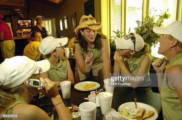 Snowbird Intercollegiate Golf Tournament Marshall Tammy Mahar eating with teammates after tournament in Mulligans Irish Pub at Pebble Creek GC Mahar...