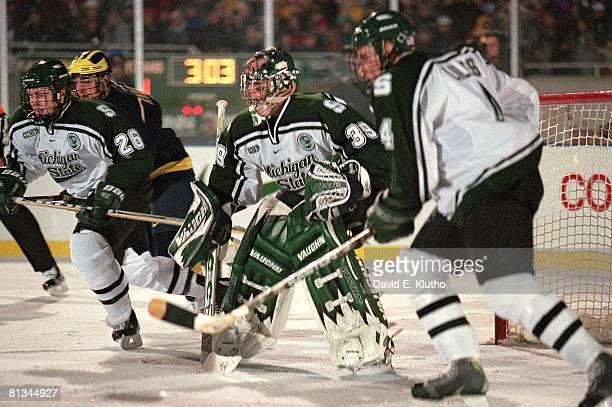 College Hockey Michigan State goalie Ryan Miller in action vs Michigan East Lansing MI 10/6/2001