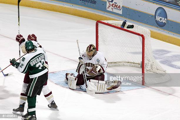 College Hockey NCAA Frozen Four Boston College goalie Cory Schneider in action making save vs Michigan State St Louis MO 4/7/2007