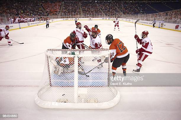 Frozen Four: Wisconsin Blake Geoffrion victorious after scoring goal vs Rochester Institute of Technology at Ford Field. Detroit, MI 4/8/2010 CREDIT:...