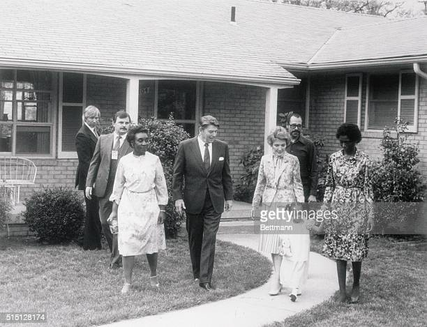 Presidential Visit Pres Ronald Reagan and his wife Nancy leave home of Phillip and Barbara Butler May 3 after paying an impromptu visit to the...